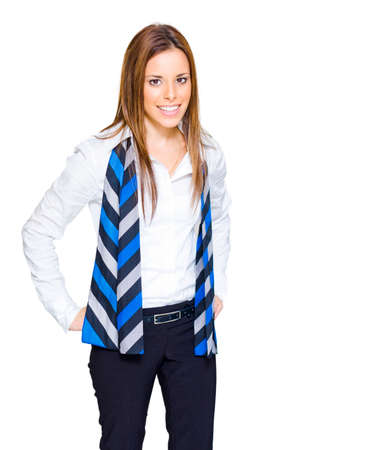 intelligently: Isolated Studio Portrait Of A Confident Smiling Brunette Business And Career Driven Woman Standing In White Collar Shirt And Striped Scarf, Isolated Over White