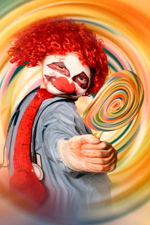 warped: Warped hypnosis portrait of Tipsy The Hospital Clown offering a psychedelic hallucinogenic lolly pop when on a motion spinout of funny gas