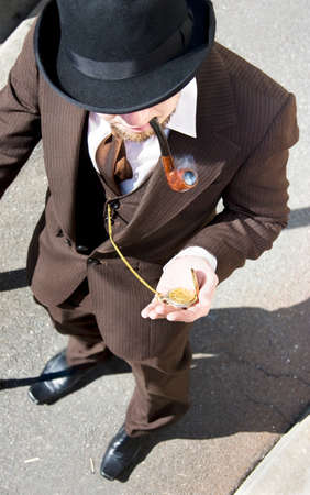 check out: Time Traveler Takes A Pocket Watch Stop To Check Out The Days Of Old Stock Photo