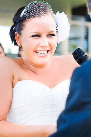 matrimony: Emotional Bride Crying And Laughing At The Same Time During A Beautiful And Heartfelt Moment Of Wedding Matrimony