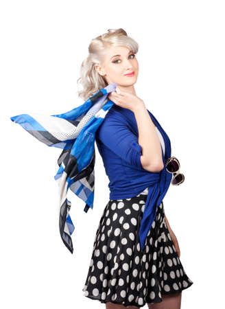 depiction: Isolated young caucasian woman walking with with scarf and sunglasses in a depiction of 50's pinup fashion style