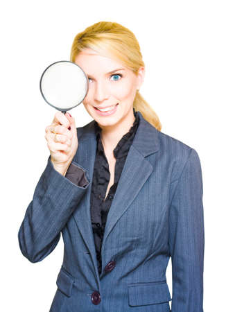 spy glass: Business Audit And Competitor Or Competition Analysis Concept See A Business Woman Holding A Spy Glass Or Magnifying Glass In A Search Mission Of Discovery Stock Photo