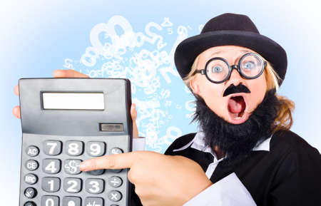 big mouth: Funny excited sales man pointing to dollars symbol on huge calculator with massive hand in a depiction of big savings