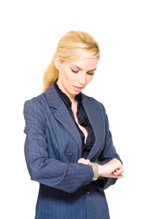 tardy: Work Hours Concept See A Blond Business Lady Looking At Her Wrist Watch To Check The Time Of Her Next Meeting, Image Isolated On A White Background Stock Photo