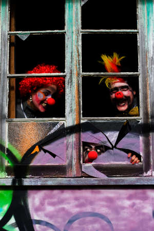 bash: Clowns Ghouls And Freaks Partying It Up Inside A Scary Haunted House At A Party Celebration During Halloween