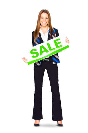 markdown: Marketing Professional Business Lady Holding Sale Board Billboard Or Sign While Offering Discount Sales, Price Markdowns And Retail Reduction, Isolated On White Stock Photo