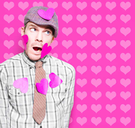 tender sentiment: Man In Love Romance Covered In Hearts On Card Copyspace Background