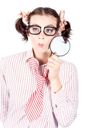 seeking solution: Studio Photograph Of A Business Women Seeking A Solution With Magnifying Glass