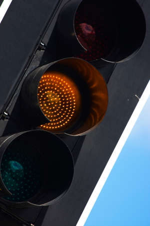 amber light: Amber Traffic Light At A Very Close View Stock Photo