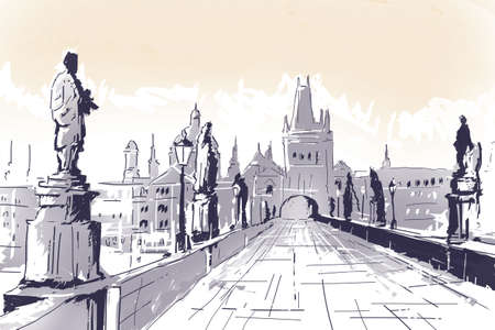 prague: Unique travel drawing of the statuette that line the walk of Lesser Town Bridge Tower and the Judith Bridge. 12th century European architecture