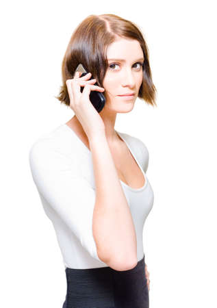 suppliers: Confident Young Female Sales Representative Selling Business Deals On A Mobile Phone When On A Teleconference With Suppliers And Customers, On White