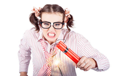 choleric: Isolated Nerd Business Woman Holding Lit Explosives While Gnashing Teeth With Fury In A Depiction Of A Explosion Time Bomb On White Background Stock Photo