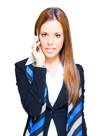 teleconferencing: Business Communication Concept With An Attractive Confident Modern Business Woman Taking A Conference Call On A Smart Mobile Phone, White Background