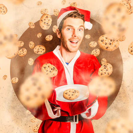 christmas catering: Creative bake concept of a santas little helper cooking up christmas treats under falling cookies barrage. X-mas catering