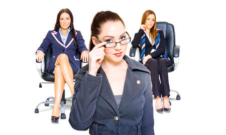 dominant woman: Three diverse women achievers in corporate business all exhibiting profound self-confidence , ability and performance giving them pre-eminence in the corporate world