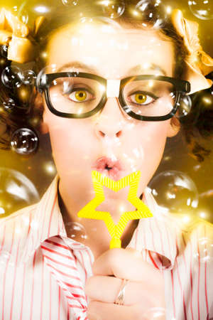 dweeb: Fine Art Photo On The Face Of A Beautiful Female Geek Blowing Soap Bubble During A Birthday Party Celebration