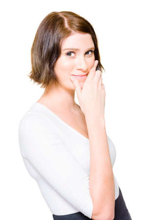 depiction: Studio Isolate Portrait Of A Beautiful Young Business Woman Gesturing A Smile By Pushing Lips Up In A Depiction Of Putting On A Happy Face, On White Background