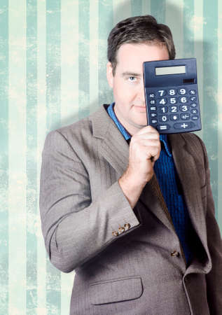 cost: Business person hiding behind cash calculator when searching for hidden superannuation money