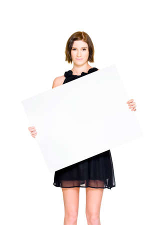 slanted: Female Holding Board Or Sign On A Slanted 45 Degree Angle While Promoting A Discount Special During A Stocktake Clearance Markdown Sale, On White