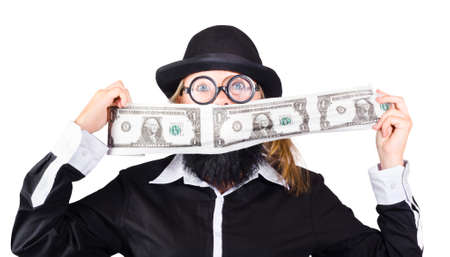 money roll: A woman in fake beard and mens clothes with a roll of money. On a roll to earn crazy money.