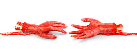 ghoulish: Two Bloody Severed Hands Stretch Out Towards One Another To Bridge The Gap Of The Dearly Departed, Until Death Do Us Part Stock Photo