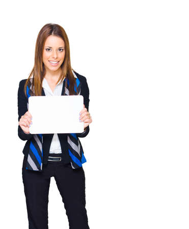 advertising agency: Gorgeous Young Brunette Business Woman Smiling While Displaying A Blank Copy Space Sign Or Empty Notice In A Branding And Advertising Agency Friendly Image