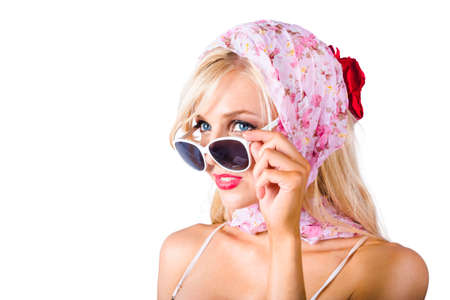 headscarf: Classy young blond woman in pink headscarf and sunglasses, white background