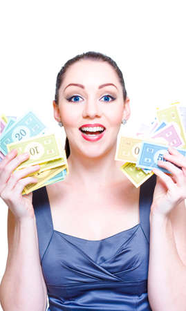 exhilarated: On White Photograph Of An Animated And Excited Business Person Holding A Handful Of Money In A Deal Winning, Stock Market Success And Windfall Payout Concept