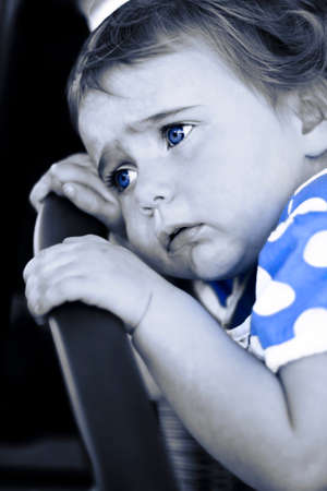 cried: Blue Is A Sad Child Crying In A Unhappy Expression Of Baby Blues Stock Photo