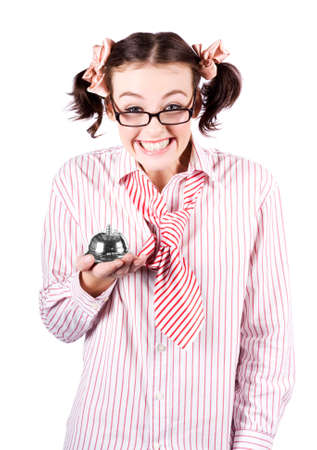 saleslady: Smiling Business Woman Wearing Nerdy Glasses Holding Hotel Service Bell While Offering Smart Service On Clever Deals And Discounts