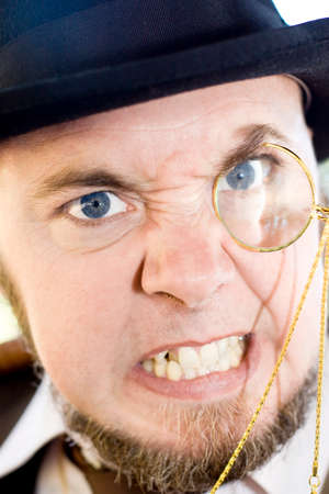 monocle: Mean Monocle Man Clinches Teeth Tightly Together Is An Fuming Facial Expression