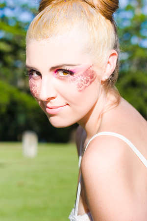 youthful: Face Of A Glamorous Fashionable And Stylish Dancing Ballerina Wearing Lace Design Cosmetics And Makeup Outdoors During A Youthful Recreation Dance Show