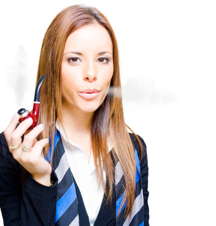 studio photograph: Studio Photograph Of Young Confident Smoking Hot Business Woman With Hot Business Idea Thought And Brainwave While Pipe Smoking, Isolated On White Background