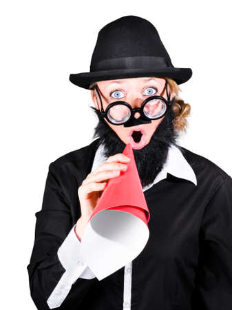 making an announcement: Isolated mad scientist making announcement through rolled up megaphone. Science communication over white background Stock Photo