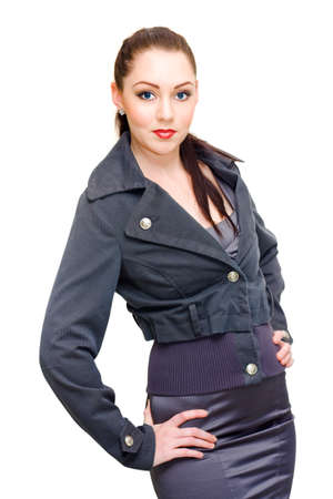 attractive  female: Isolate Studio Portrait Of A Stunning Sexy Young Woman Striking Glamour Pose When Modelling Business Clothing In Classy Professional Style, On White Background