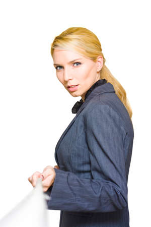 shrewd: Determined Efficient And Shrewd Business Woman Pulls On A Rope In A Battle To Win Clients And Respect In A Job And Career Concept Titled Business Tug Of War