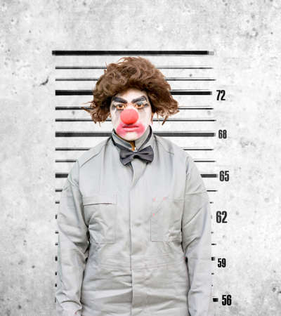 clowning: Lady Clown Has Her Identification Mug Shot Taken Against The Height Wall Down At The Police Station