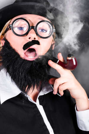 undercover: Comic portrait of a undercover private eye detective wearing nerd glasses and plastic moustache smoking pipe while conducting investigation