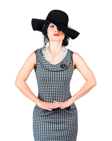 fashion and beauty: Beauty model posing in jewellery pearl necklace with classy hat. Complementary fashion Stock Photo