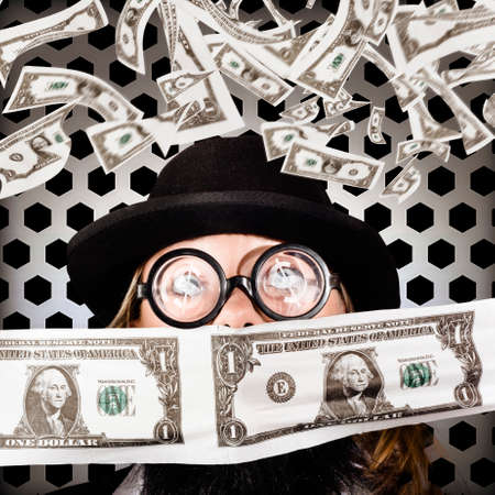 fainted: Fortune 500 businessman with dollar sign eyeglasses covered in copious amounts of falling American money Stock Photo