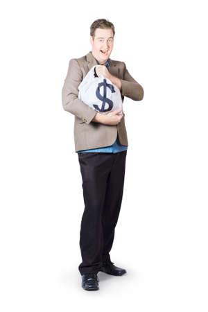honorarium: Happy Mature Businessman Holding Dollar Signed Bag Stock Photo