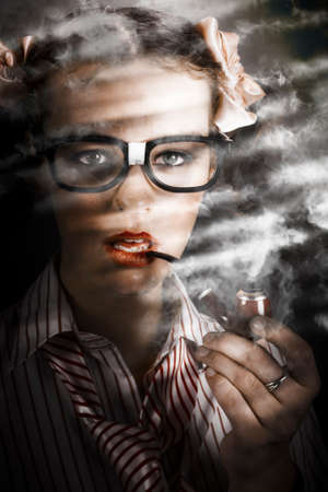old fashioned: Old Fashioned Portrait Of A Attractive Young Female Business Spy With Smoke Pipe Near Window Blind