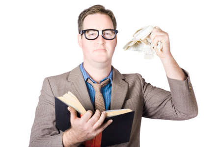 rend: Mature Businessman Holding Crumpled Paper And Book On White Background Stock Photo