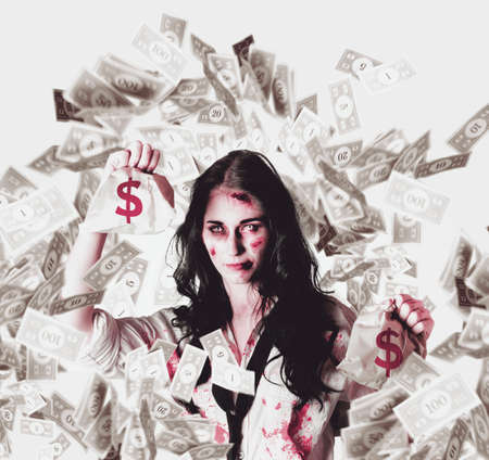 inundated: Zombie business girl holding a dead loan while swimming through the debt from a cash flow negative interest rate