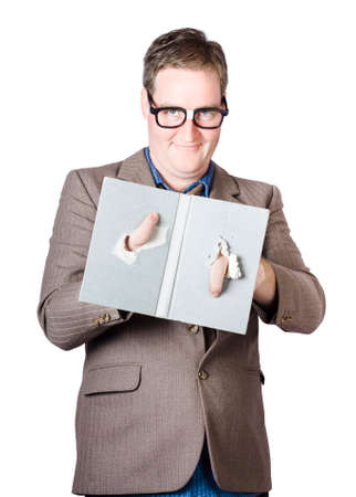 dweeb: Nerdy bookworm poking hands through novel holes with wormy fingers. White background