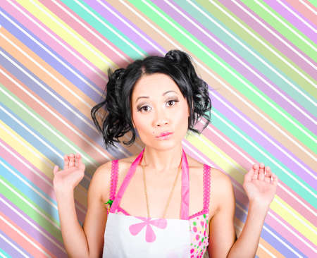 retro housewife: Surprised retro housewife on colorful stripe copyspace Stock Photo