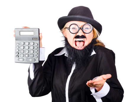 disguise: Woman in disguise wearing bowler hat, wide rimmed glasses fake mustache and beard shouting out loud and holding up gray electronic calculator