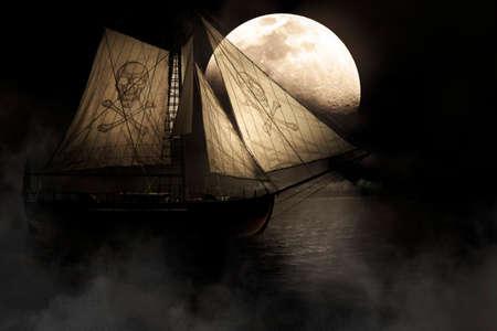 pirate skull: El mal inquietante y misteriosa imagen de una nave fantasmal con el cr�neo y la bandera pirata de m�stil Vela A trav�s de niebla y la niebla bajo un cielo de la Luna Llena