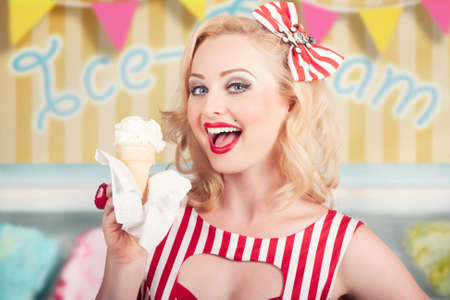 woman with ice cream: Attractive retro pinup girl eating ice cream cone inside a vintage ice creamery. Illustration background