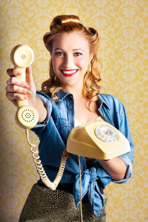 gals: Woman Giving Good Telephone Service In A Depiction Of A Retro Pop Art Advertisement Stock Photo
